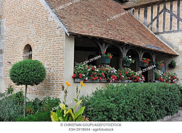 ''caquetoire'' (typical french name for a kind of porch where people can chat ) of the church at Isdes, Loiret department, Centre-Val-de-Loire region, France