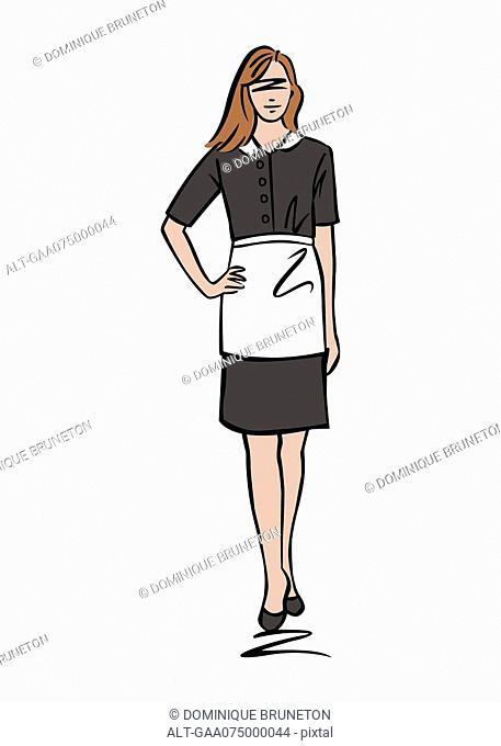 Illustration of female maid