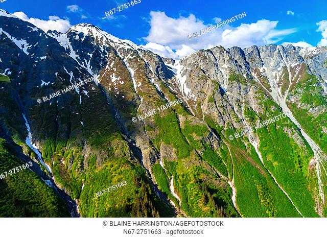 Aerial views of alpine scenery en route from Haines to Glacier Bay National Park, Southeast Alaska USA