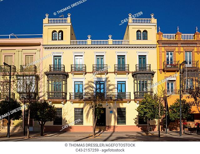 One of the fine Andalusian style residences in the San Fernando Street. Seville, Seville province, Andalusia, Spain
