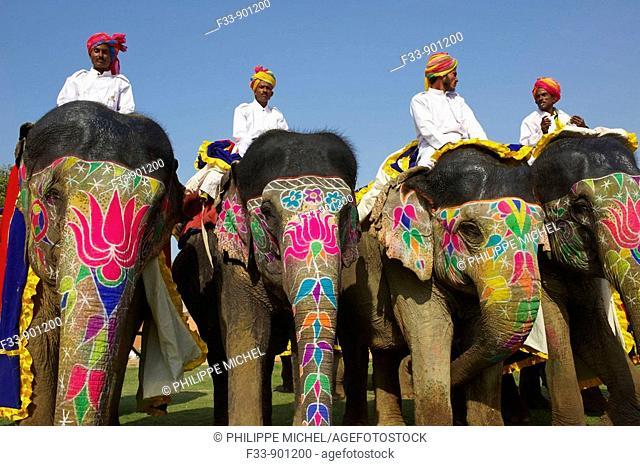 Elephant Festival celebrated on the eve of Holi, Jaipur, Rajasthan, India
