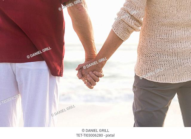 Rear view of senior couple holding hands
