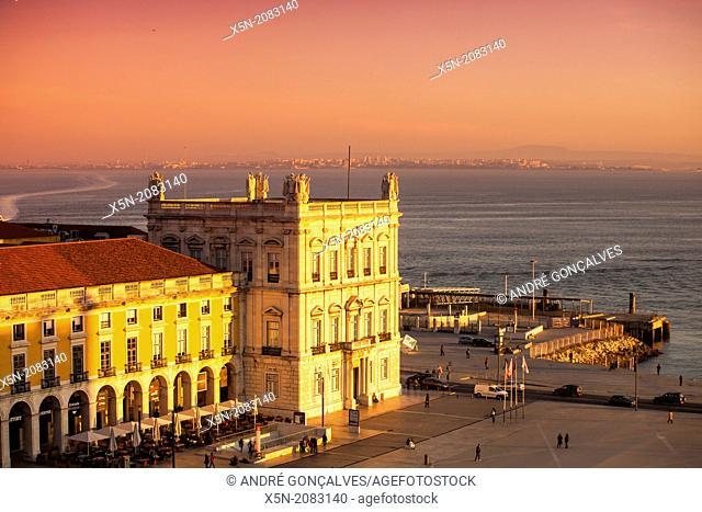 Praca do Comercio at Sunset, Lisbon, Portugal, Europe