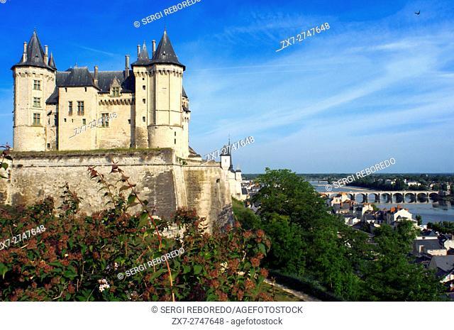 The Chateau de Saumur overlooking the River Loire and viwes of the city with Cessart bridge, Maine-et-Loire, Pays de la Loire, France, Europe