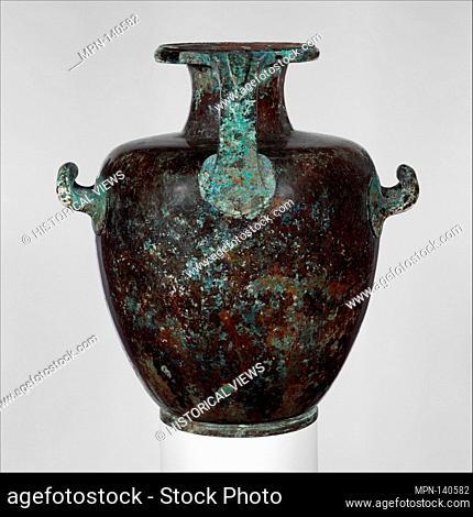 Bronze hydria (water jar). Period: Classical; Date: 5th century B.C; Culture: Greek; Medium: Bronze; Dimensions: H. 15 in. (38