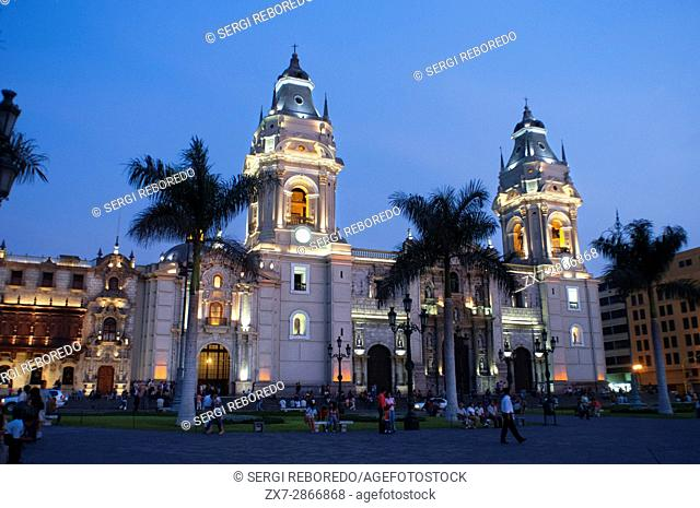 Cathedral of Lima at Plaza de Armas square, Plaza Mayor, Peru, South America