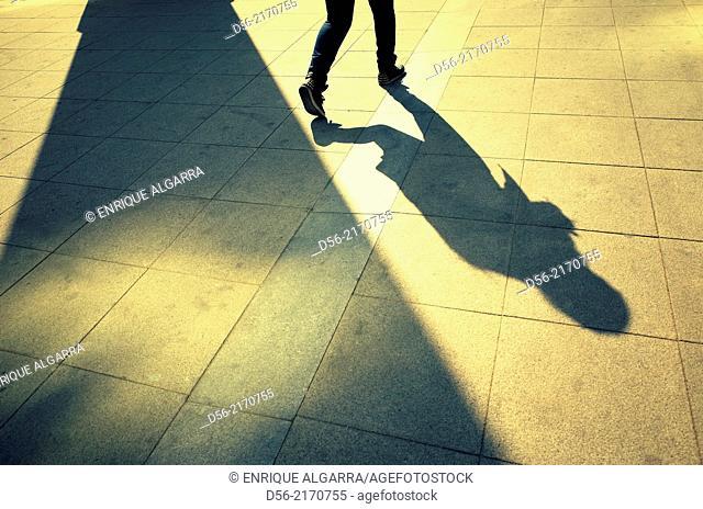 Pedestrian and shadow,Valencia,Spain