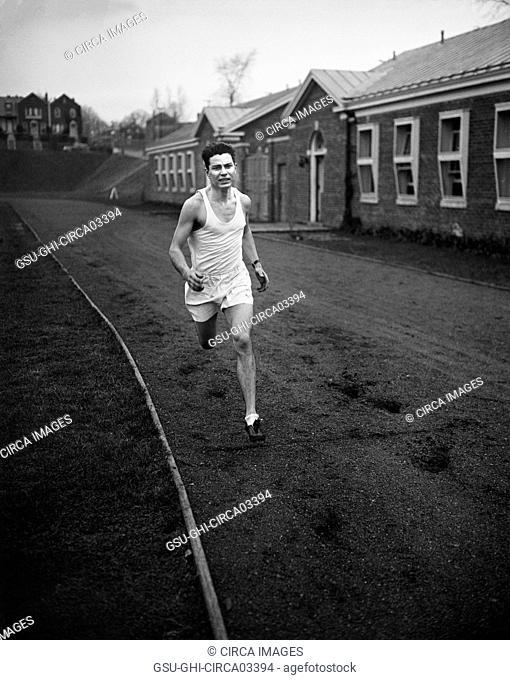 Man Running on Track, Harris & Ewing, 1936