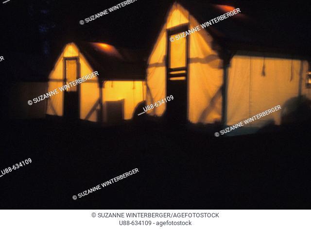 Night, tent cabins, campground at Yosemite National Park, California. USA