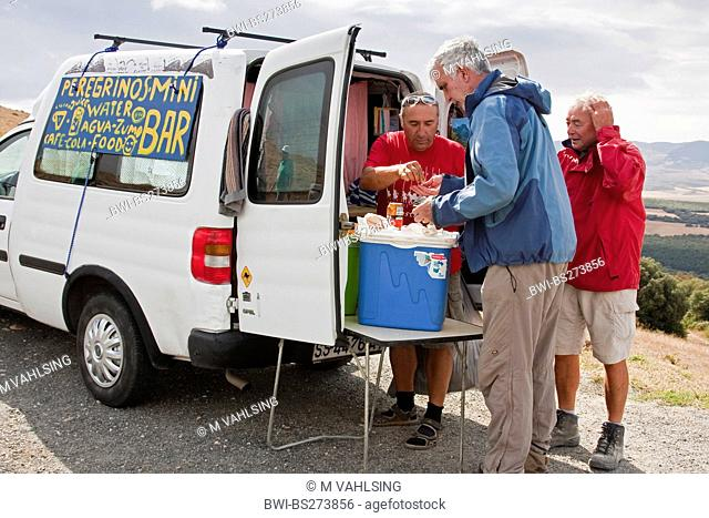 thursty pilgrims at a minibar on the Alto del Perdn, Spain, Basque country, Navarra