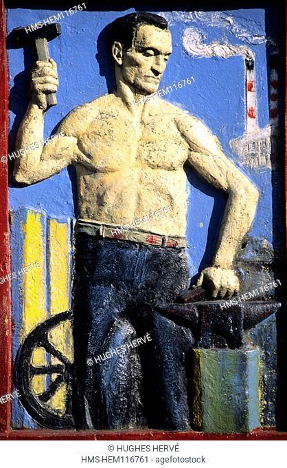 Argentina, Buenos Aires, district of La Boca, fresco in the Caminito street