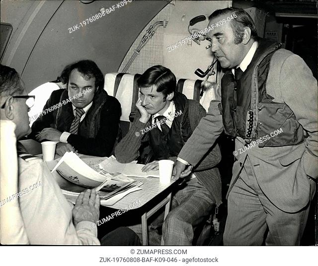 Aug. 08, 1976 - Defence Chief gets air view of the Kiev.: Defence Secretary Mr. Roy Mason wearing a Mae West on board a Nimrod reconnaissance jet on a flight...