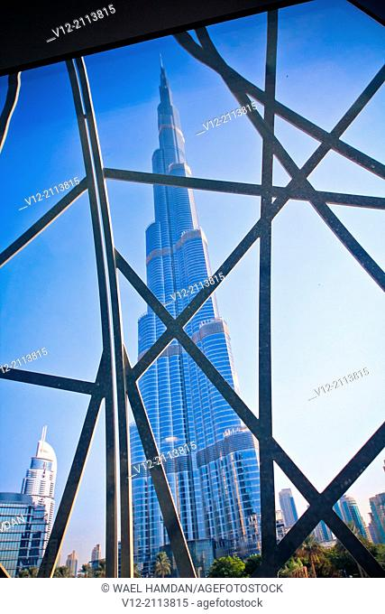 Burj Khalifa taken from Dubai mall, the tallest building in the world in downtown Dubai
