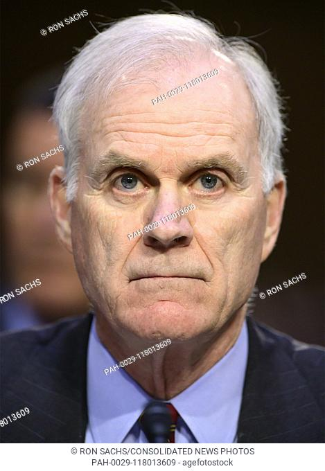 "United States Secretary of the Navy Richard V. Spencer testifies before the US Senate Committee on Armed Services during a hearing on """"Chain of Command's..."