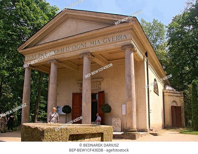 Temple of Diana. English Garden Park set up by Helena Radziwill in 1779 in Arkadia village, Lodz Voivodeship, Poland