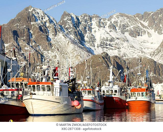 Harbour of village Henningsvaer , island Austvagoya. The Lofoten islands in northern Norway during winter. Europe, Scandinavia, Norway, February