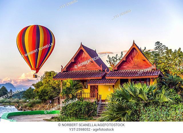 Asia. South-East Asia. Laos. Province of Vang Vieng. Vang Vieng. Hot Air Balloon
