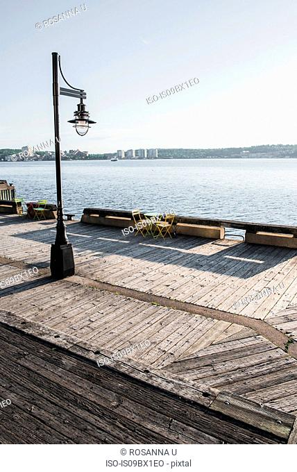 Wooden boardwalk by seaside, Halifax, Canada