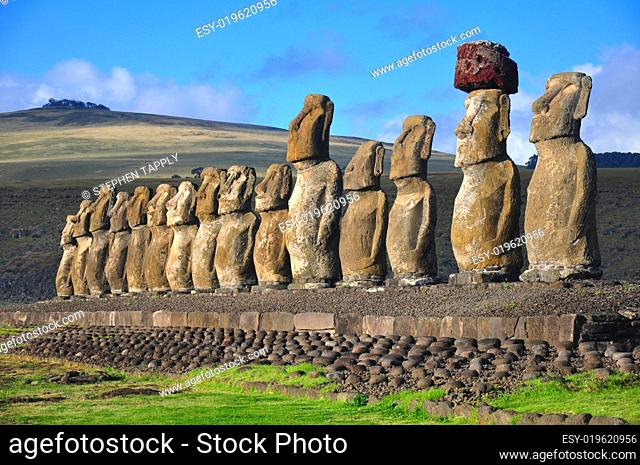 Fifteen moai at Tongariki, Easter Island