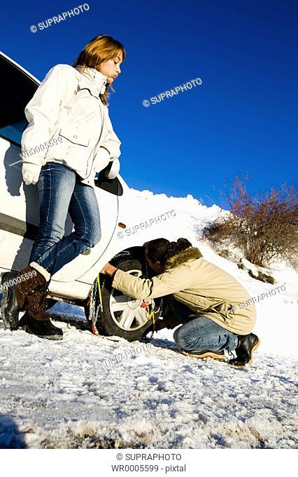 Couple car snow chains