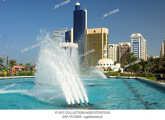 Fountain and skyscrapers in Abu Dhabi, United Arab Emirates