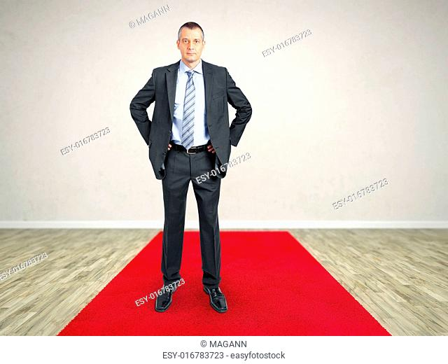 A room with a red carpet and a business man