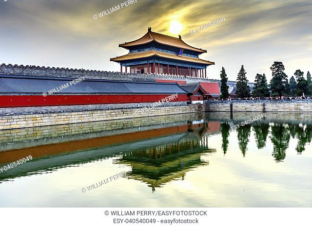 Rear Gate Heavenly Purity Gugong Forbidden City Moat Canal Plaace Wall Beijing China. Emperor's Palace Built in the 1600s in the Ming Dynasty