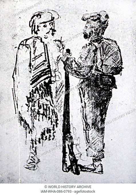 Illustration of two types of Catalan Carlist. Dated 20th Century