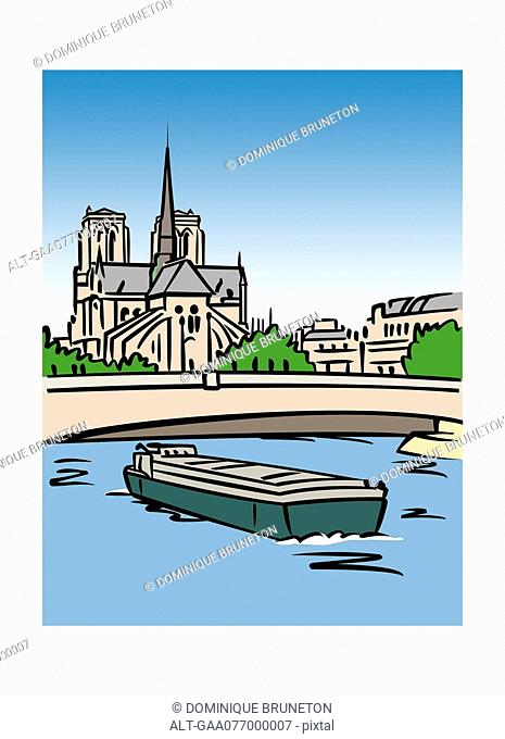 Illustration of the Notre-Dame Cathedral in Paris, France
