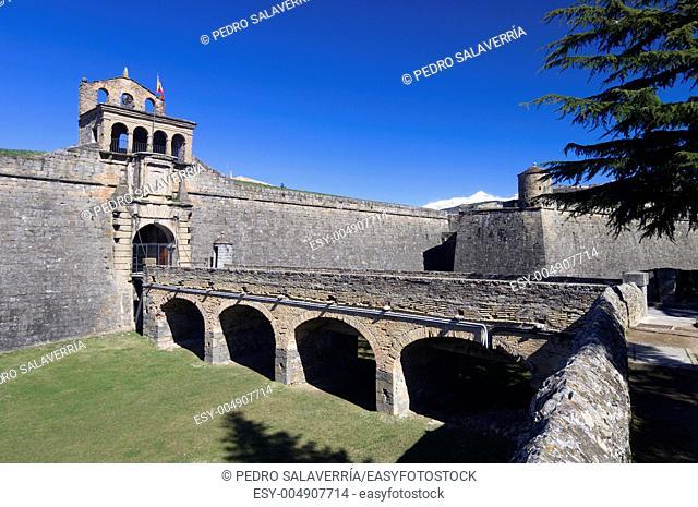 entrance to the castle of St  Peter, known as La Ciudadela, Jaca, Huesca, Aragon, Spain