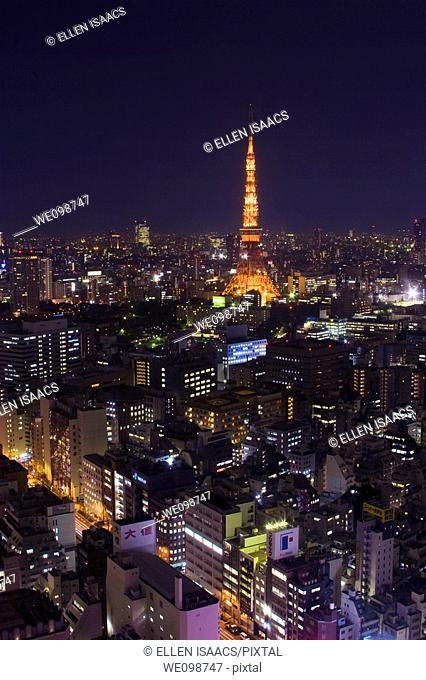 Aerial view of Tokyo Tower and city of Tokyo, Japan at night