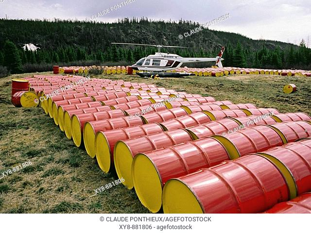 Barrels, helicopters, James Bay Area. Quebec. Canada