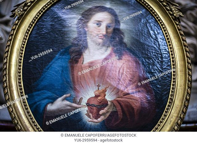 Painting of the Sacred Heart Jesus, Rome, Italy
