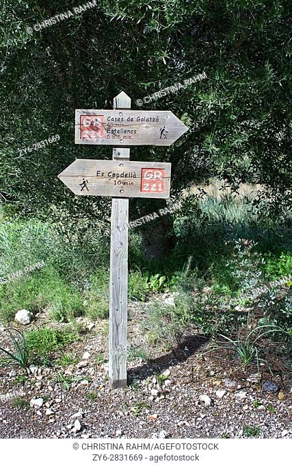 MALLORCA, SPAIN - February 9, 2017: Walking path rural signs for trekking tourists on February 9, 2017 in Mallorca, Spain