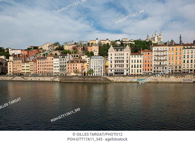 France, Lyon, Quays of the Saône River, Quai Fulchiron, facades, Photo Gilles Targat