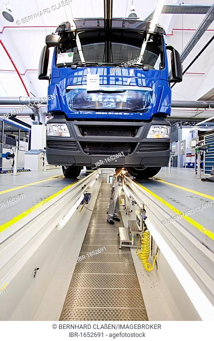 Final quality check of undercarriage and steering, production of trucks, Man AG company, Munich, Bavaria, Germany, Europe
