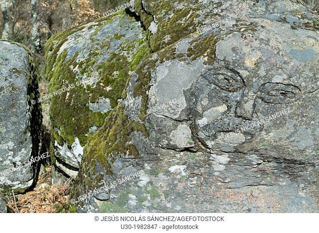 Sculpted rocks called by Tome faces, in Sierra de Francia-Las Batuecas Natural Park. Salamanca province, Castilla-Leon, Spain