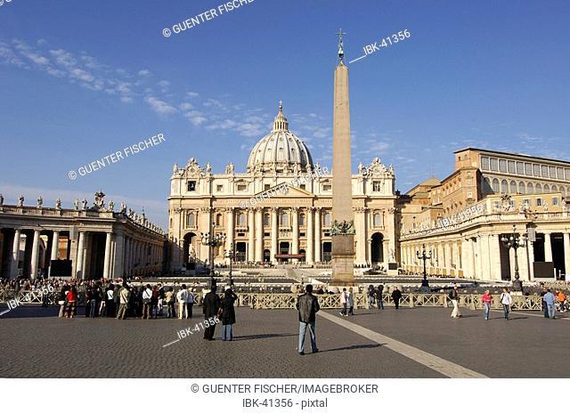 St Peter's square Basilcia of Saint Peter Epyian obelisk Vatican Rome Italy