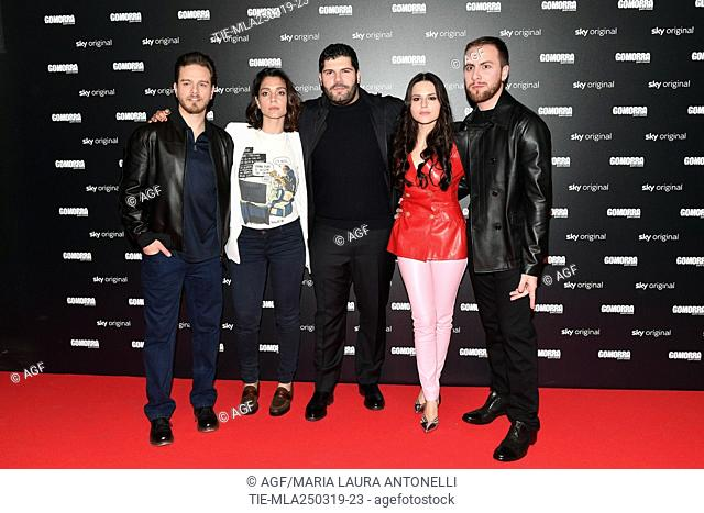 Arturo Muselli, Cristiana Dell'Anna, Salvatore Esposito, Ivana Lotito, Loris De Luna during 'Gomorra 4' tv series photocall, Rome, Italy 25 March 2019