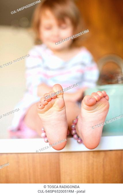 Close up of girl?s feet