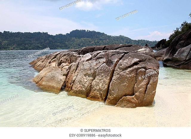 Large boulders on the beach in the islands of the archipelago Koh Lipe, Thailand
