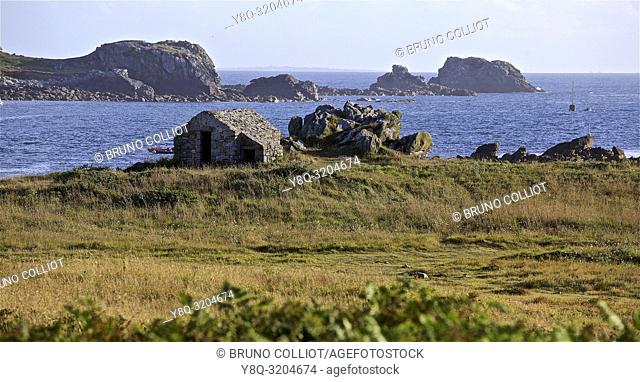 view of the coastal path at Argenton with its customs shelter, finistere, brittany, france