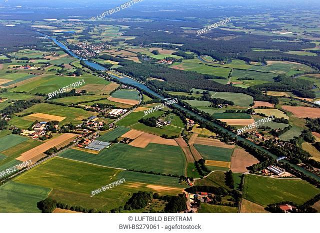 chanal Weser Datteln Kanal with watergate Ahsen, Germany, North Rhine-Westphalia, Ruhr Area, Datteln
