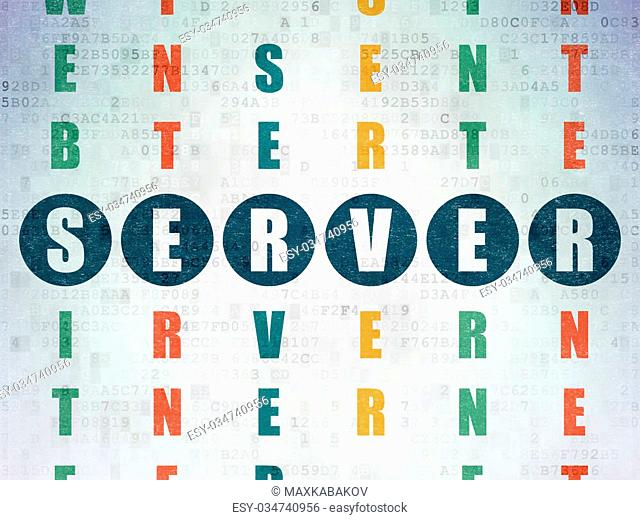 Web design concept: Painted blue word Server in solving Crossword Puzzle on Digital Paper background