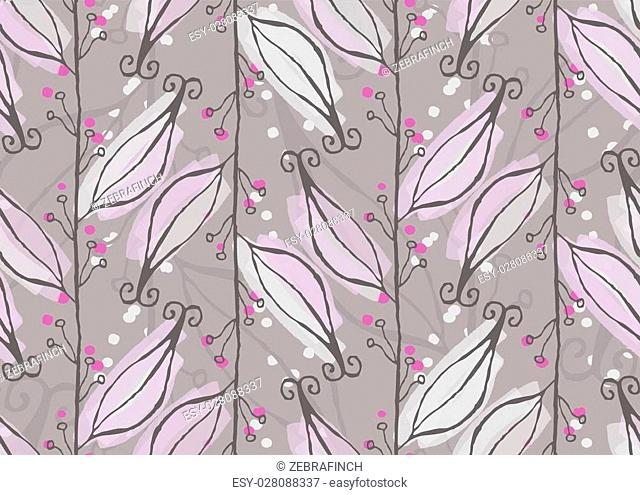 Light purple leaves on vine.Hand drawn with ink and colored with marker brush seamless background.Creative hand made brushed design