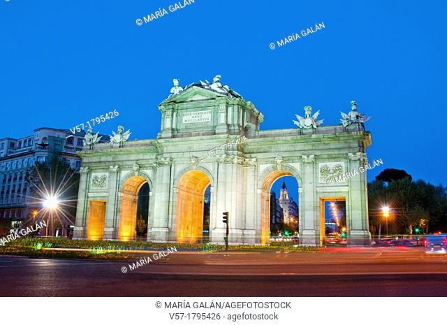 Alcala Gate, night view. Madrid, Spain