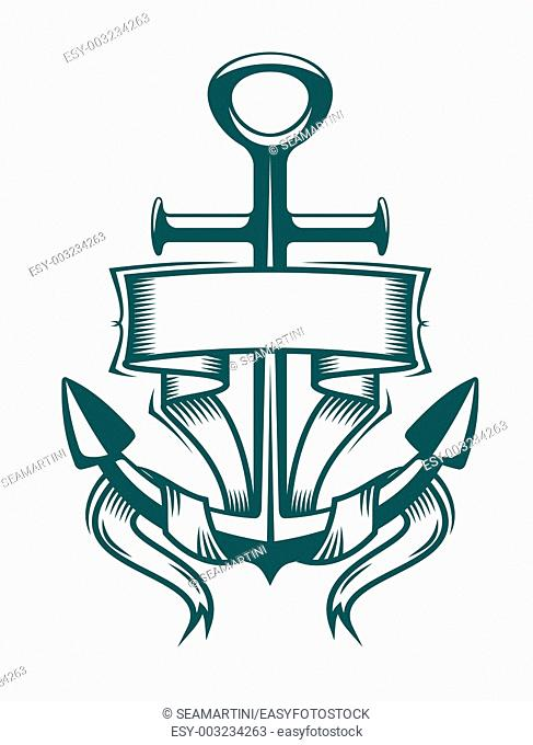 Anchor symbol with ribbon or banner for travel design