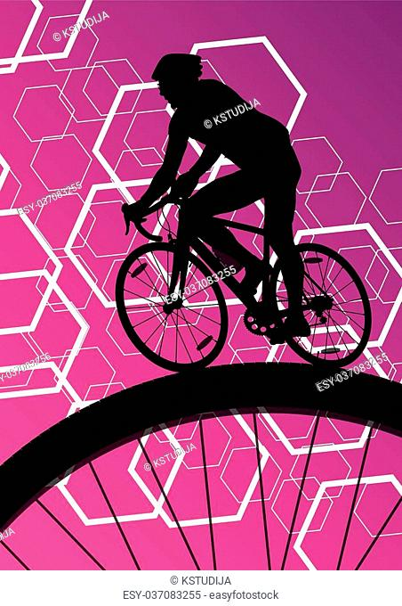 Cyclist active bicycle rider in abstract sport landscape background illustration vector