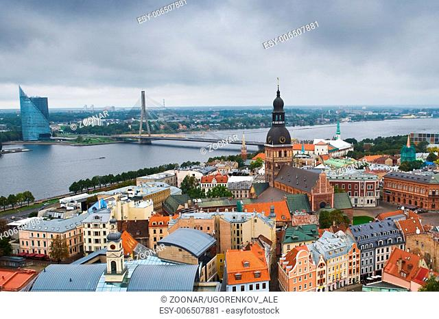 Riga center with Daugava river