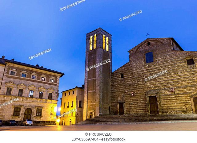 The Cathedral of Santa Maria Assunta in Montepulciano in Italy in the evening